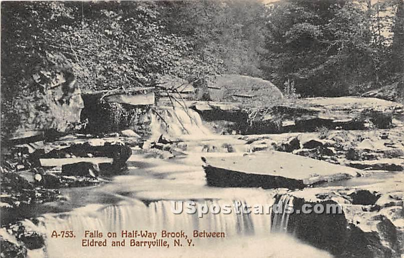Falls on Half Way Brook - Eldred, New York NY Postcard