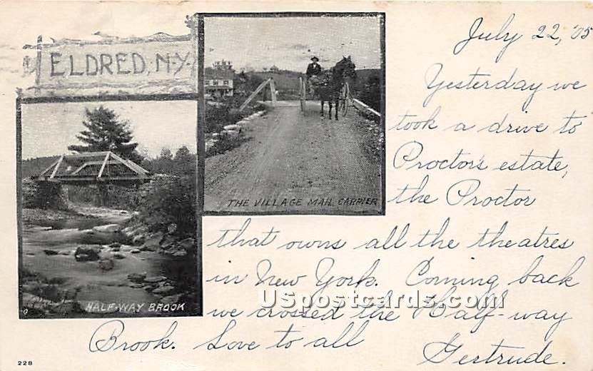Vilalge Mail Carrier - Eldred, New York NY Postcard
