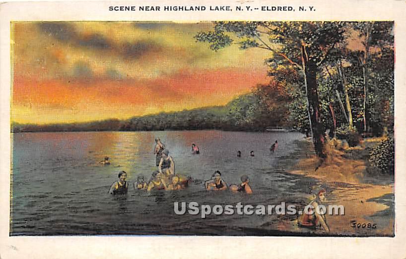 Highland Lake - Eldred, New York NY Postcard