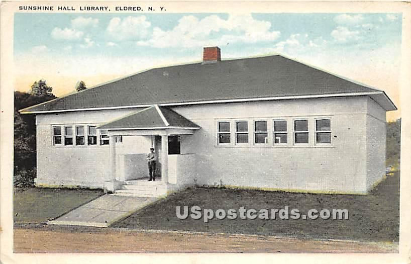 Sunshine Hall Library - Eldred, New York NY Postcard