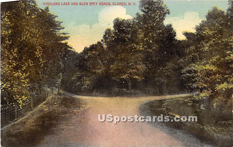 Highland Lake & Glen Spey Roads - Eldred, New York NY Postcard