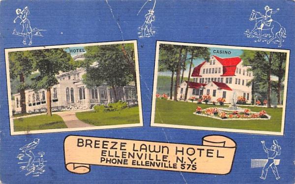 Breee Lawn Hotel Ellenville, New York Postcard