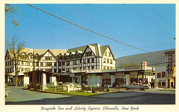 Wayside Inn and Liberty Square Ellenville, New York Postcard