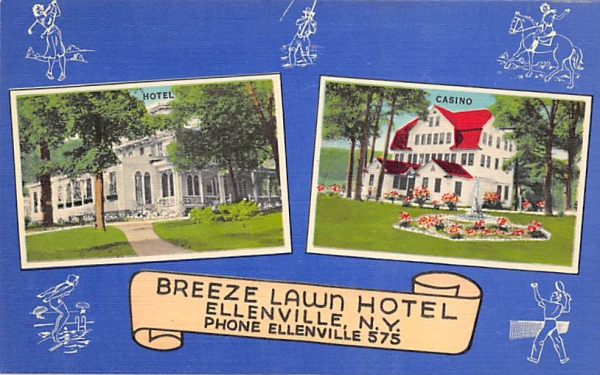 Breeze Lawn Hotel Ellenville, New York Postcard
