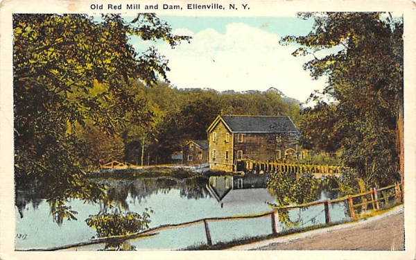 Old Red Mill and Dam Ellenville, New York Postcard