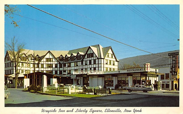 Wayside Inn and Libery Square Ellenville, New York Postcard