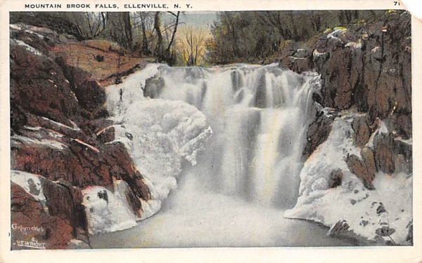 Mountain Brook Falls Shawangunk Mts Ellenville, New York Postcard