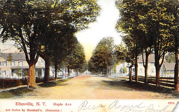 Maple Ave Ellenville, New York Postcard