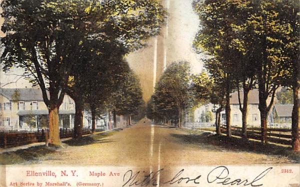 Maple Avenue Ellenville, New York Postcard