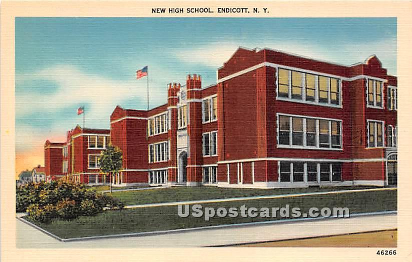 New High School - Endicott, New York NY Postcard