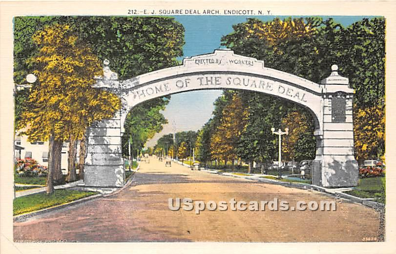 EJ Square Deal Arch - Endicott, New York NY Postcard