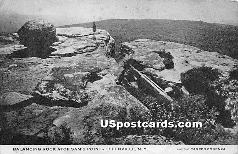 Balancing Rock, Sam's Point - Ellenville, New York NY Postcard
