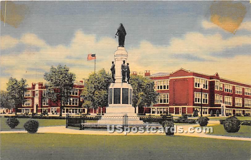 Union Endicott High School & World War Monument - New York NY Postcard