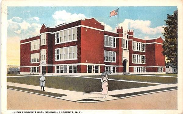 Union Endicott High School New York Postcard