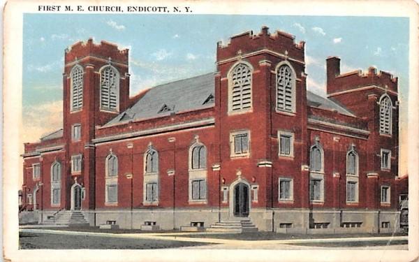 First ME Church Endicott, New York Postcard