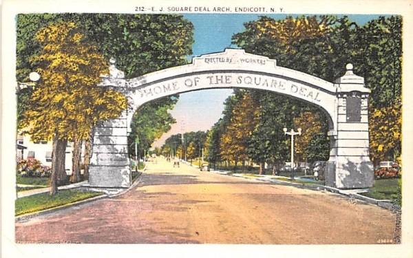 EJ Square Deal Arch Endicott, New York Postcard