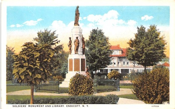 Soldiers' Monument & Library Endicott, New York Postcard