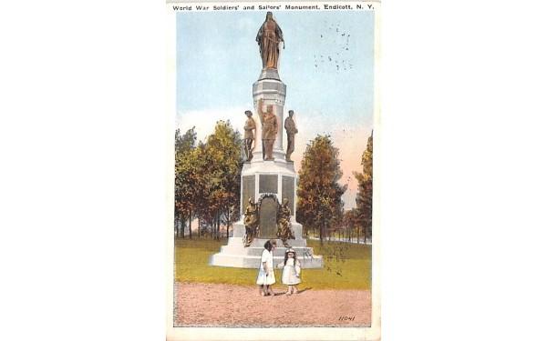 World War Soldiers' & Sailors' Monument Endicott, New York Postcard
