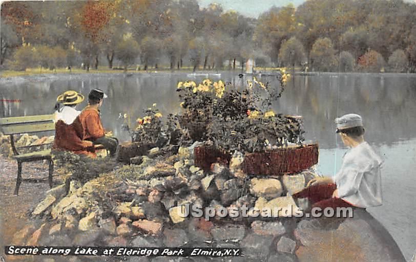 Lake at Eldridge Park - Elmira, New York NY Postcard