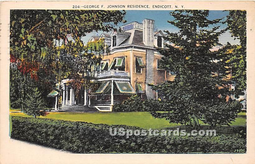 George F Johnson Residence - Endicott, New York NY Postcard