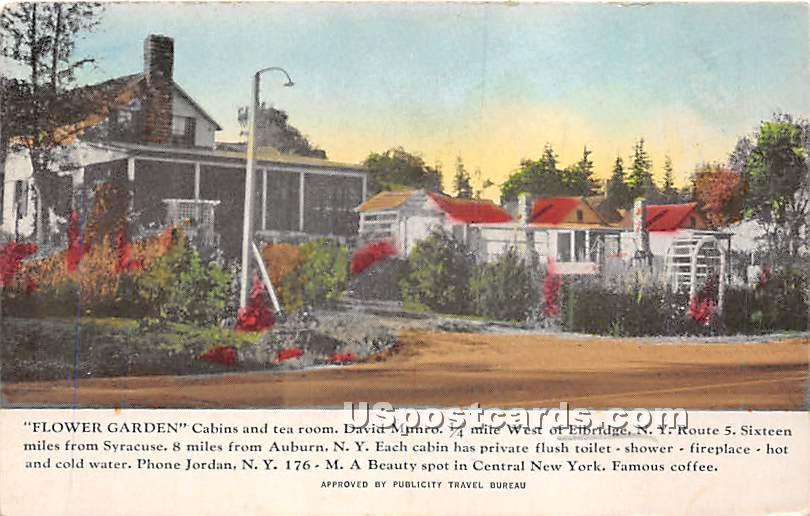 Flower Garden Cabins - Elbridge, New York NY Postcard