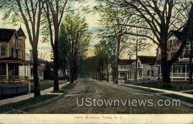 Upper Broadway - Fonda, New York NY Postcard