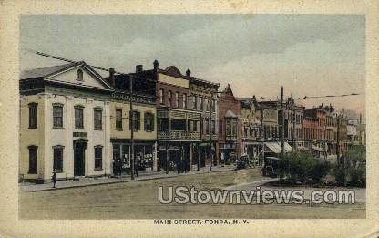 Main Street - Fonda, New York NY Postcard