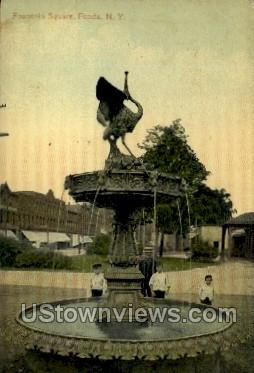 Fountain Square - Fonda, New York NY Postcard