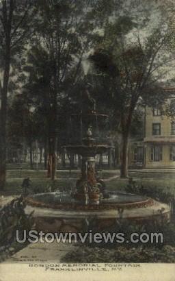 Gordon Memorial Fountain - Franklinville, New York NY Postcard