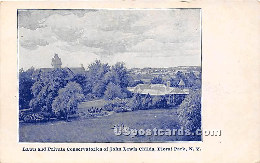 Lawn & Private Conservatories of John Lewis Childs - Floral Park, New York NY Postcard
