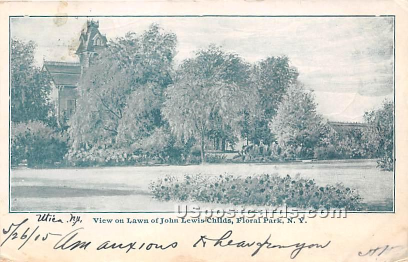 Lawn of John Lewis Childs - Floral Park, New York NY Postcard