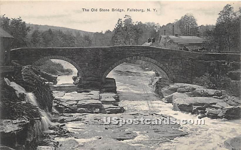 The Old Stone Bridge - Fallsburg, New York NY Postcard