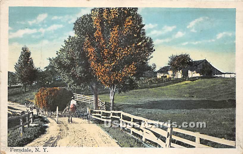 Hay on Cart - Ferndale, New York NY Postcard