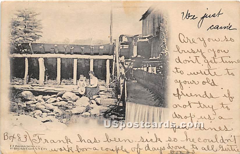 Sitting on Rocks - Ferndale, New York NY Postcard