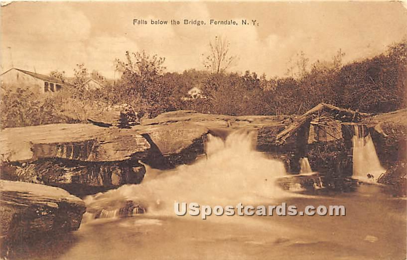 Falls below the Bridge - Ferndale, New York NY Postcard