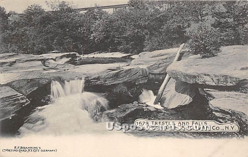 Trestle and Falls - Ferndale, New York NY Postcard