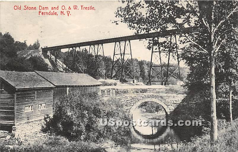 Old Stone Dam and O & W Trestle - Ferndale, New York NY Postcard