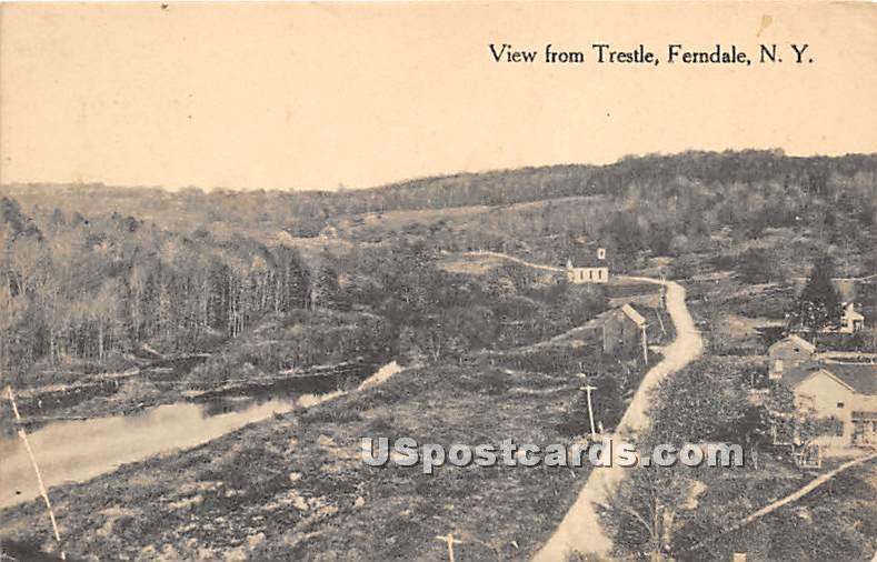 View of Trestle - Ferndale, New York NY Postcard