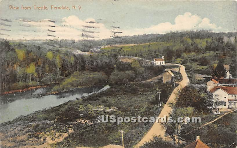 View from Trestle - Ferndale, New York NY Postcard