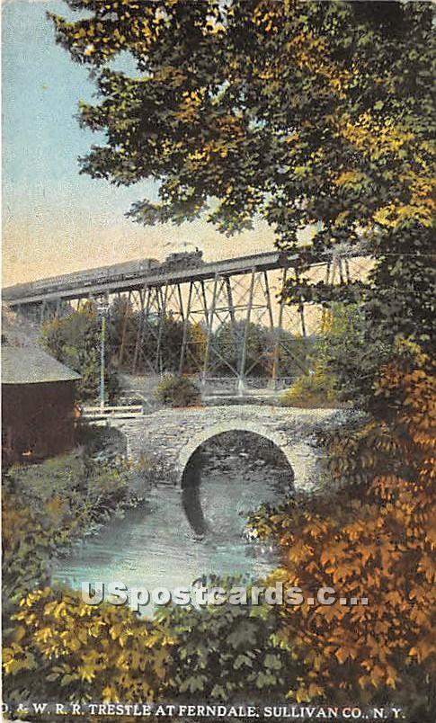 O & W RR Trestle - Ferndale, New York NY Postcard