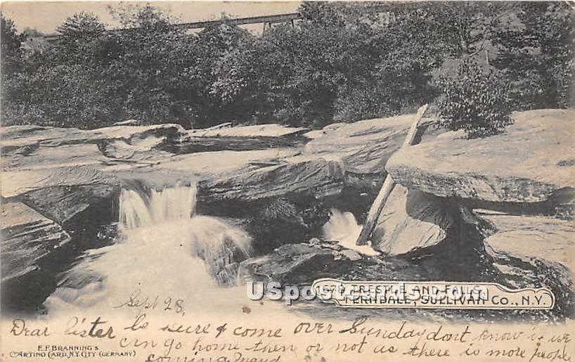 Trestle & Falls - Ferndale, New York NY Postcard