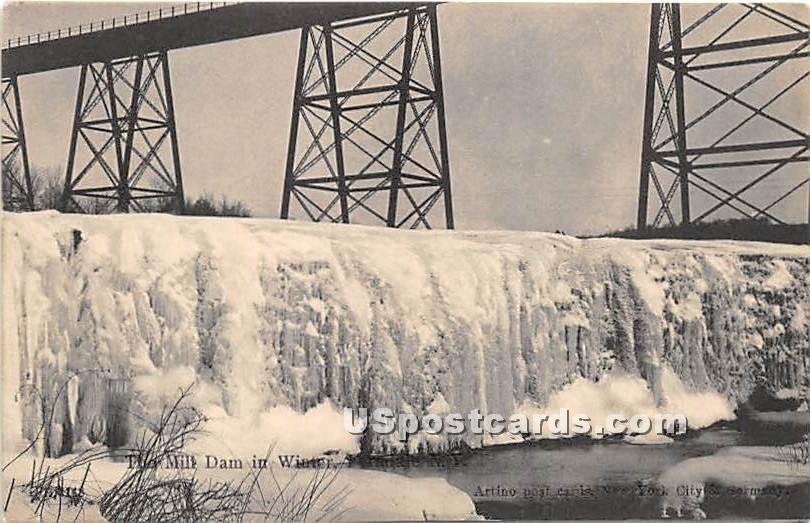The Mill Dam in Winter - Ferndale, New York NY Postcard