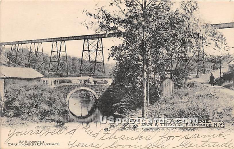 Stone Arch Bridge - Ferndale, New York NY Postcard