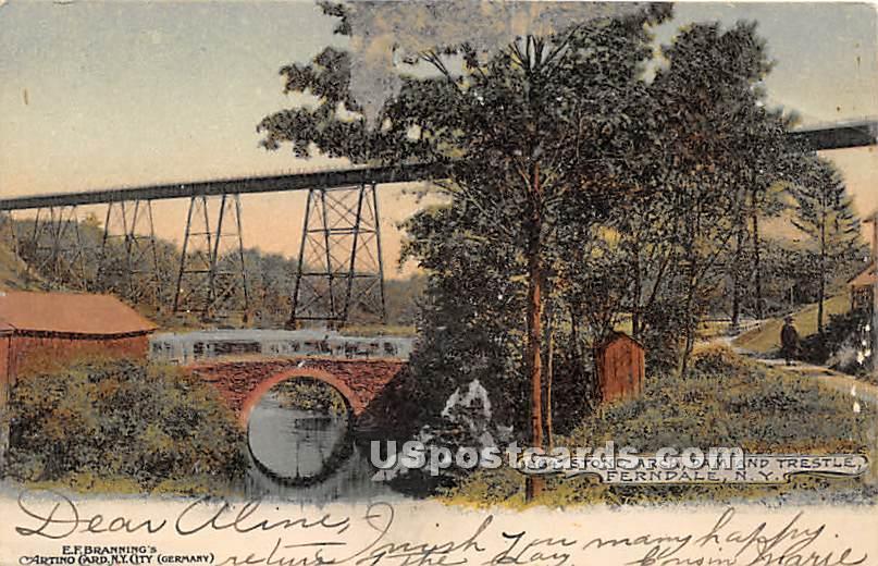 Stone Arch, Dam & Trestle - Ferndale, New York NY Postcard