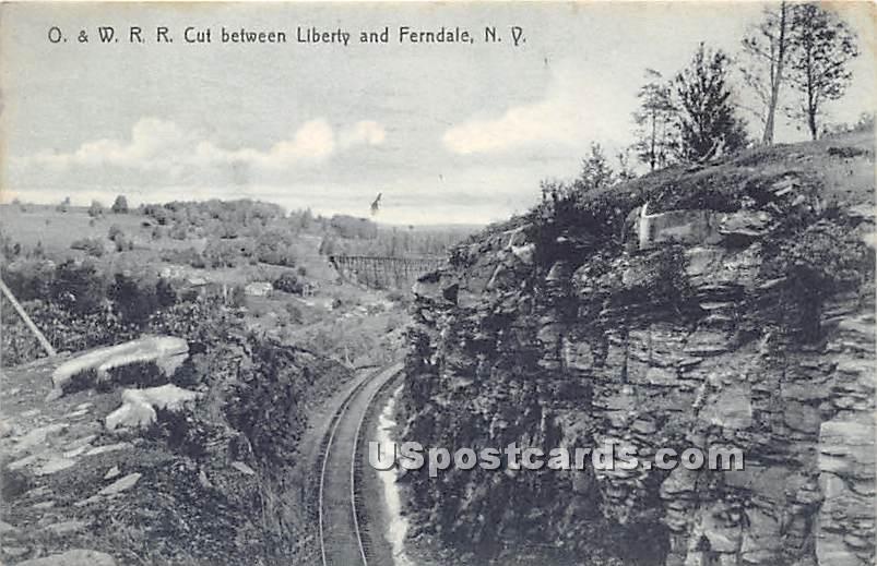 O & W RR Cut - Ferndale, New York NY Postcard