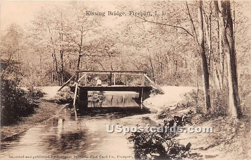 Kissing Bridge - Freeport, New York NY Postcard