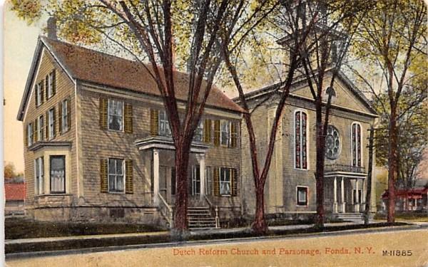 Dutch Reform Church & Parsonage Fonda, New York Postcard