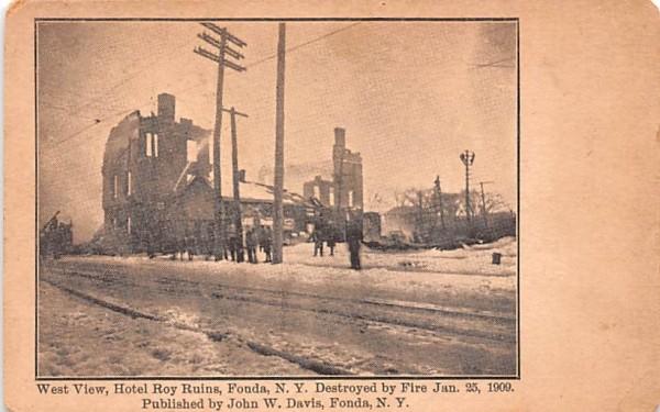 Hotel Roy Ruins Fonda, New York Postcard
