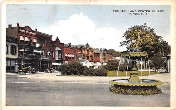 Fountain & Center Square Fonda, New York Postcard