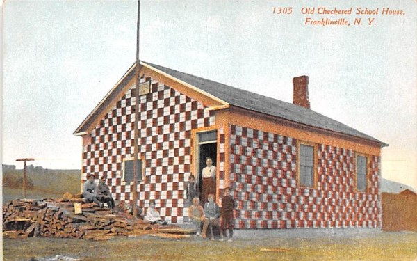 Old Checkered School House Franklinville, New York Postcard